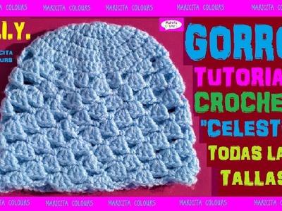 """DIY. Cómo tejer lindo Gorro a Crochet """"Celeste"""" por Maricita Colours"""