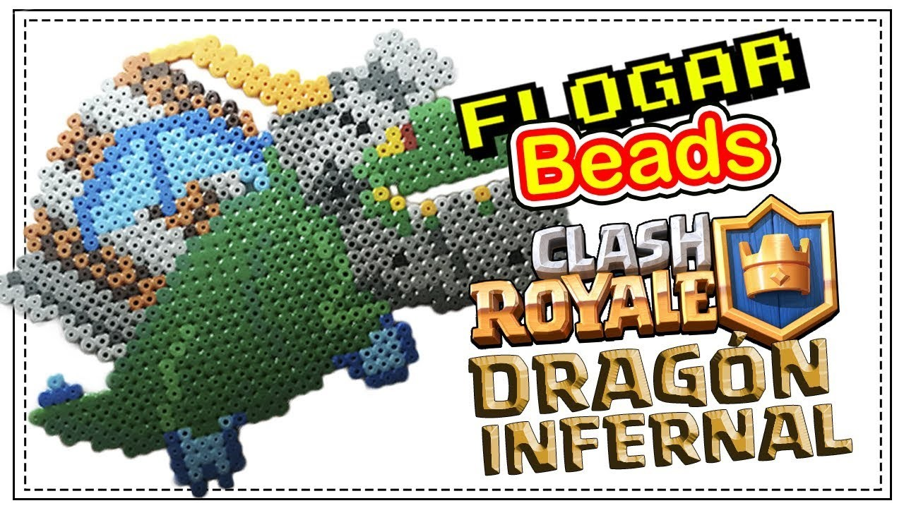 DRAGÓN INFERNAL CLASH ROYALE - HAMA BEADS DE VIDEOJUEGOS - DIY - FLOGAR BEADS TUTORIALES