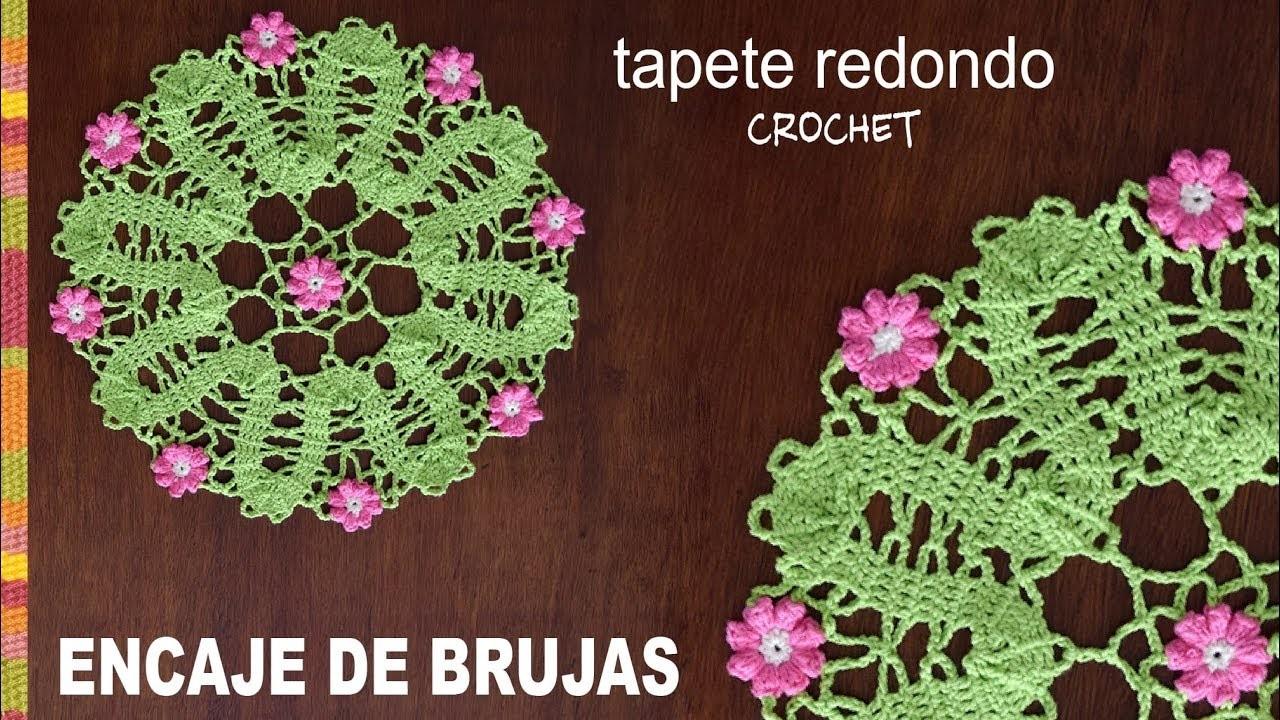 Encaje de Brujas: tapete redondo con flores popcorn tejido a crochet - Tejiendo Perú