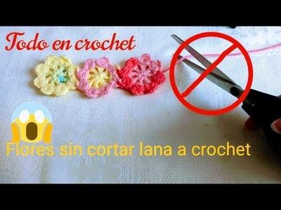 Flores a crochet sin cortar estambtre