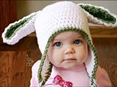 Gorritos para bebe a crochet de conejo