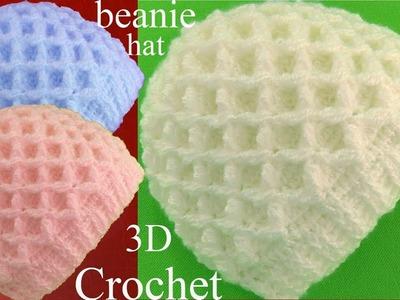 Gorro a Crochet en punto 3D de rombos tejido tellermanualperu