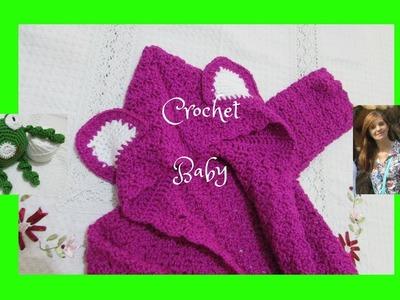 Gorro-capucha con orejas .Tejido en crochet, para niños.