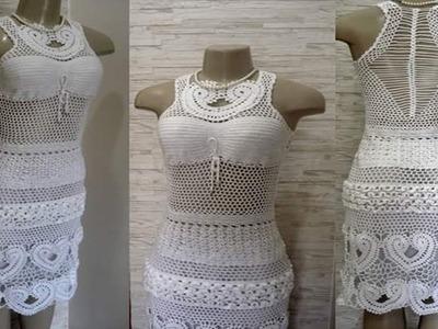 Hermoso Vestido Blanco de Mujer Tejido a Crochet