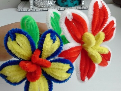 Manualidad : flores hechas con limpia pipas ???? DIY pipe cleaners flowers