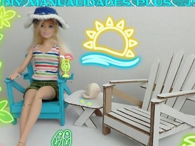 Manualidad : silla de cartón para muñecas barbie ???? DIY beach lazy chair for barbie dolls