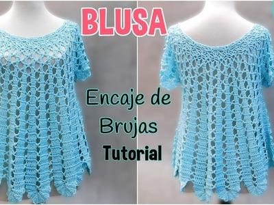 Patrón blusa amplia a crochet o ganchillo. Encaje de Brujas (1.2)