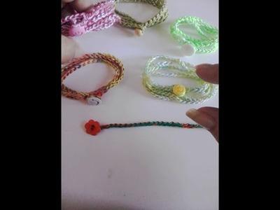 Pulseras crochet (con sólo una cadena)