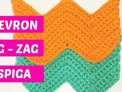 Punto chevron crochet trabajado con medio punto N°1