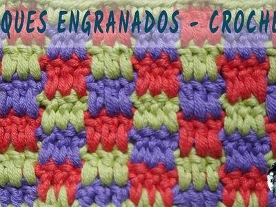 Punto de bloques engranados - Crochet