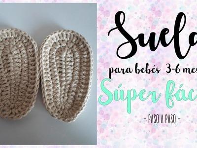 Suela zapato bebé 3 a 6 meses a crochet | ganchillo