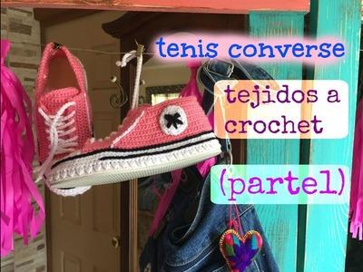 Tenis.Pantunflas Converse tejidos a Crochet  (parte1)