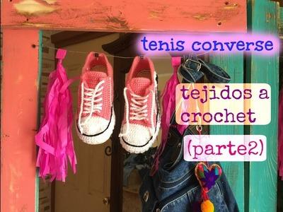 Tenis.Pantunflas Converse Tejidos a Crochet (parte2)