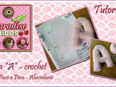 Tutorial crochet letra A paso a paso - Letter A tutorial