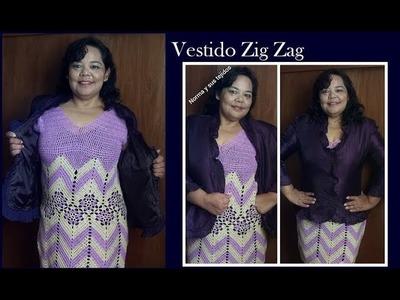 Vestido en zigzag  con pastillas a crochet