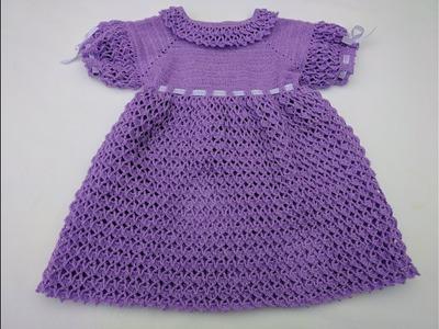 Vestido lila para niña a crochet