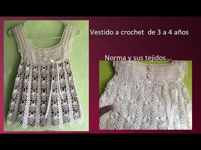 Vestido perla a crochet de 3 a 4 años