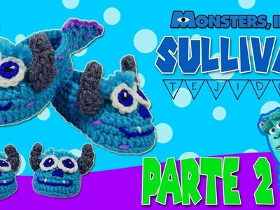 Zapatitos Sullivan tejidos a Crochet Monsters Inc  | parte 2.2