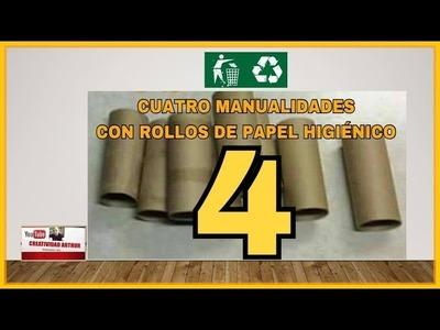 4 Ideas con rollos de papel higiénico  manualidades fáciles y rápido