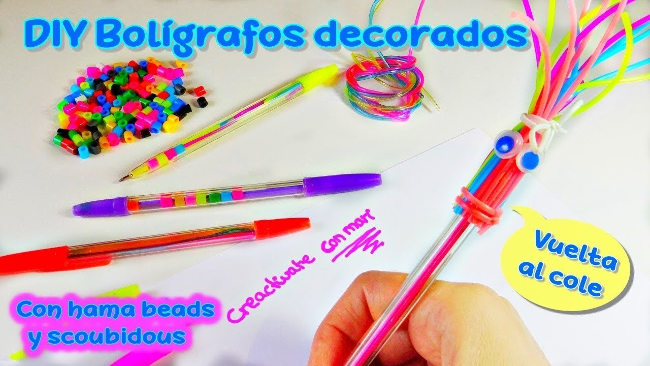 Bolígrafos decorados con scoubidous y hama beads