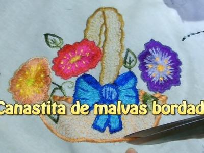 Canastita de malvas bordados |Creaciones y manualidades angeles