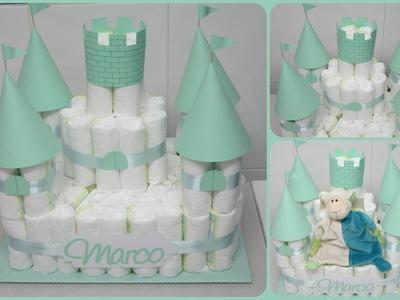 Castillo de pañales DIY - Regalos originales para bebé