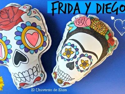 Cojines Frida y Diego, Frida Diego Pillow, Manualidades para el Día de los Muertos