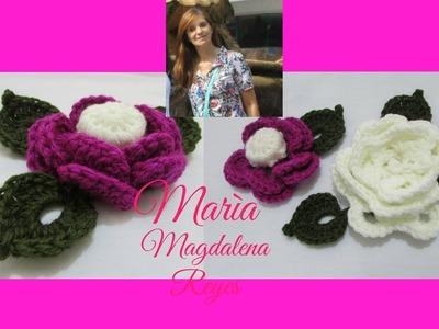 Como tejer flores y hojas en relieve y botòn forrado. Crochet.