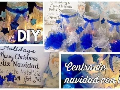 DIY  CENTRO NAVIDEÑO RECICLADO Con led y velas