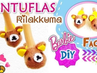 DIY ✄Como hacer PANTUFLAS para Muñecas BARBIE muy FACIL!! Manualidades Muñecas con Rilakkuma