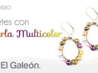 DIY El Galeón Aretes con Perla Multicolor