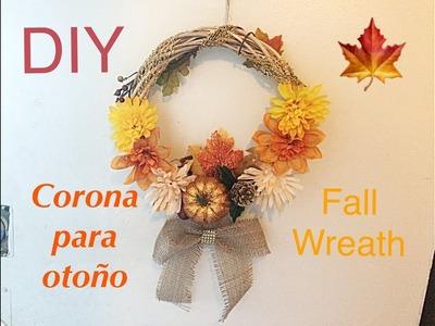 DIY  Haz una corona para otoño. Fall Wreath. Dollar Tree
