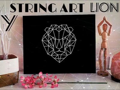 DIY String art lion | Arte de cuerda | León geométrico | DIY Geometric canvas | DIY Geometric lion