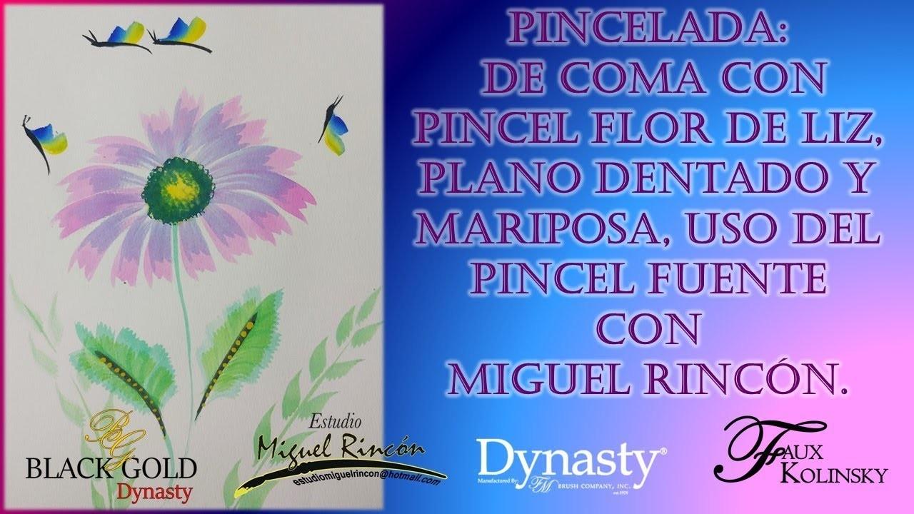Flores en Acuarela (Flowers in Water) con pincel flor de liz, mariposa y fuente por Miguel Rincón.