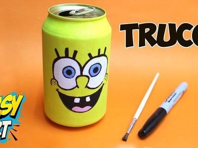 IMPRESIONANTE TRUCO con lata de Cerveza - DIY - SpongeBob- Easy Art