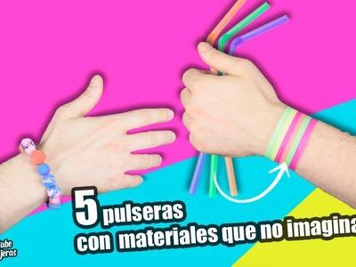 MANUALIDADES|5 PULSERAS CON MATERIALES QUE NO IMAGINAS