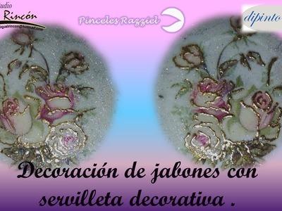 Manualidades, Decoración de Jabones (Decorating Soaps) con Servilleta Alemana por Miguel Rincón.