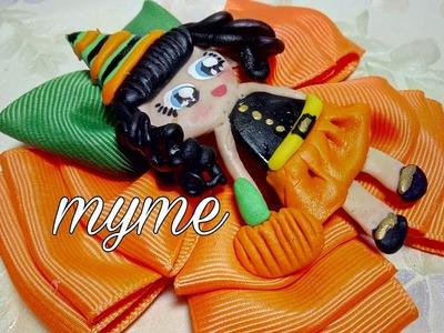 Moño calabaza para halloween. como hacer lazos, bows,VINCHAS, balacas,cintillos,manualidades, diy
