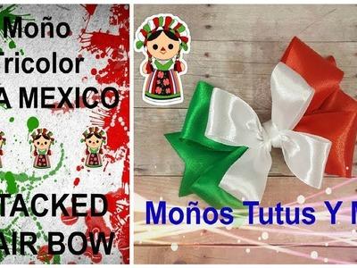 MOñO MEXICANO TRICOLOR Paso a Paso MULTICOLOR HAIR BOW How To DIY Tutorial PAP Video 199