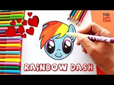 My Little Pony Rainbow Dash Dibujando Paso a Paso Fácil | How to Draw MLP Rainbow Dash