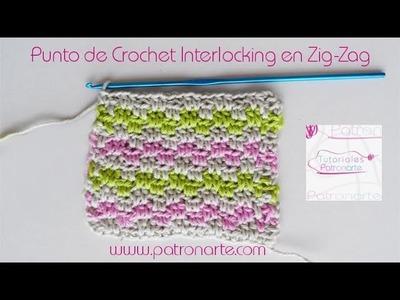 Punto de Crochet Interlocking en Zig-Zag