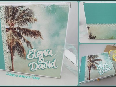 Álbum de viaje (luna de miel) temática playa, marinera.  (Scrapbooking)