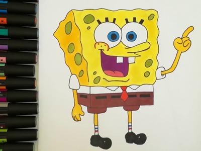 Cómo dibujar y colorear a Bob Esponja, Aprende a dibujar, Dibujos para niños,