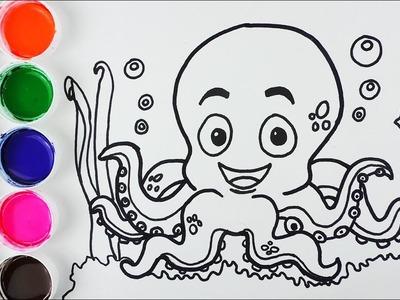 Cómo Dibujar y Colorear Pulpo de Arco Iris - Dibujos Para Niños - Learn Colors FunKeep
