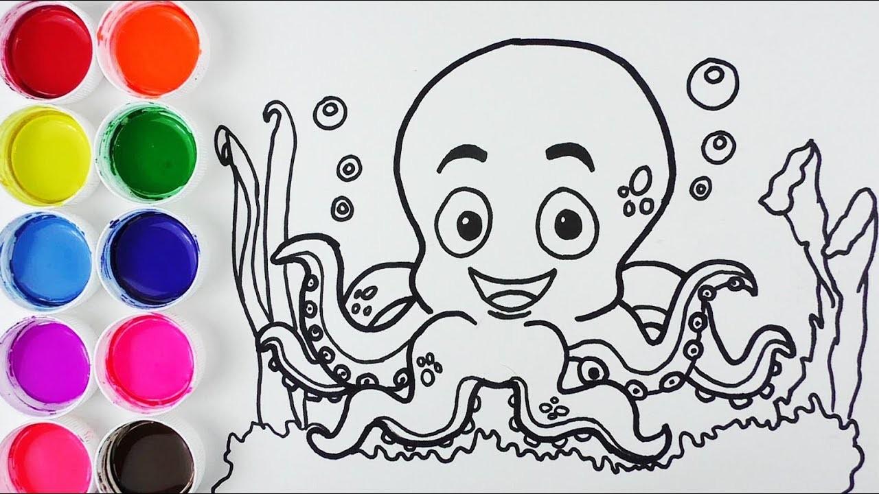 Cómo Dibujar Y Colorear Pulpo De Arco Iris Dibujos Para