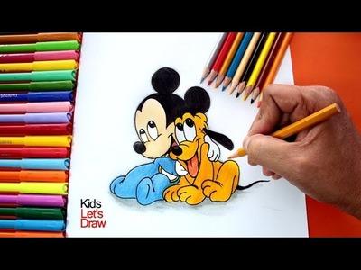 Dibujando a Mickey Mouse y Pluto Bebés | Dibujos de Mickey Mouse fáciles para Niños