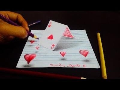 Dibujando cartas con corazones en 3D | Drawing heart in 3d