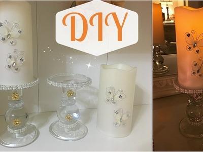 DIY | Como Decorar Candelabros Y Velas Facil Con Toque Glamuroso