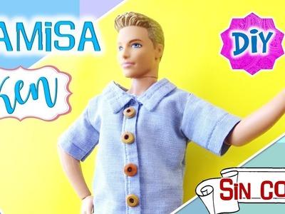 DIY ✄ Como hacer CAMISA para MUÑECO Ken SIN COSER Reciclando una camisa!!