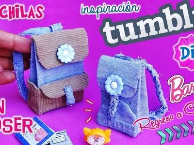 DIY ✄ Como hacer MOCHILAS para MUÑECAS|Inspiración TUMBLR SIN COSER!! Muy FÁCIL MANUALIDAD!!